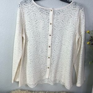 LOFT Sheer Lace Button Down Back Scalloped XXL